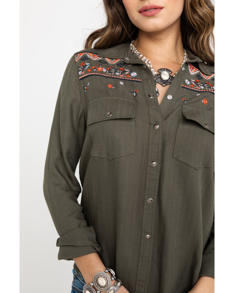 Shyanne Women's Embroidered Front Button Long Sleeve Western Shirt , Olive, hi-res