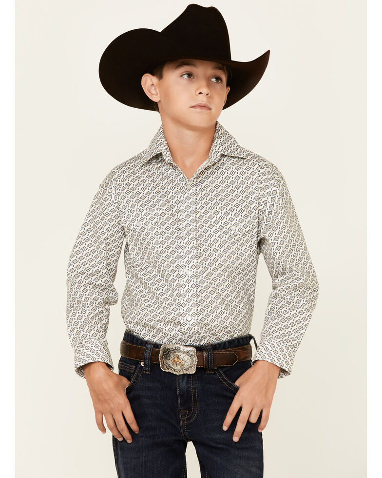 Rough Stock By Panhandle Boys' Sand Diamond Geo Print Long Sleeve Snap Western Shirt , Sand, hi-res