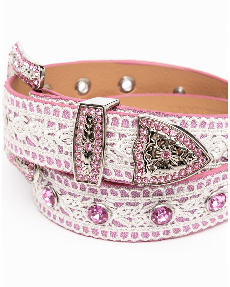 Shyanne Girls' Pink Lace Rhinestone Western Belt , Pink, hi-res