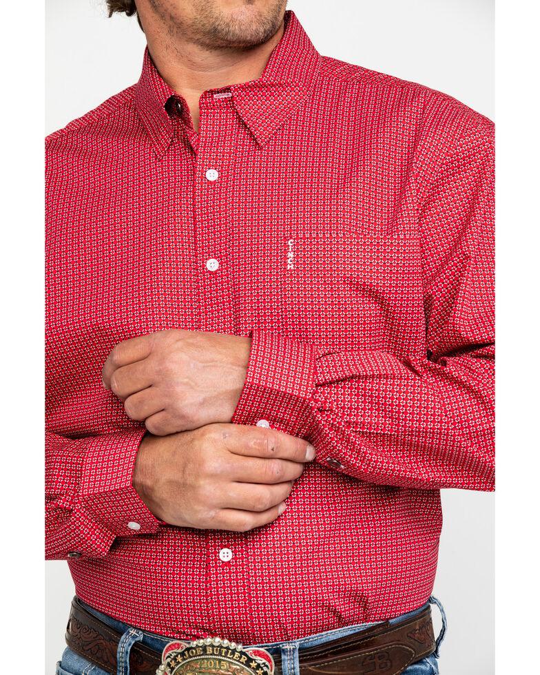 Cinch Men's Red Diamond Geo Print Modern Long Sleeve Western Shirt , Red, hi-res