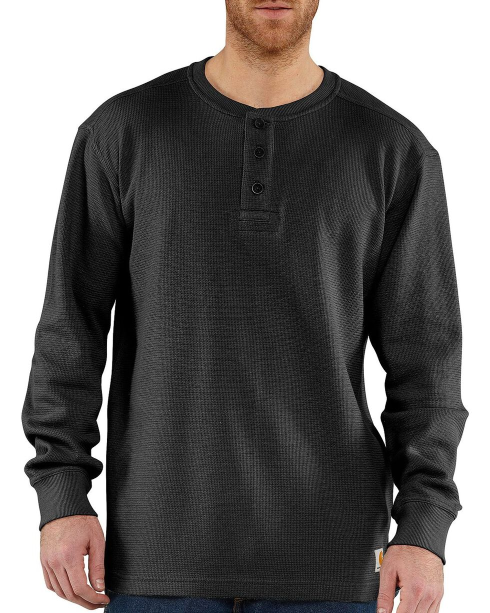 Carhartt Men's Long Sleeve Textured Henley, Black, hi-res
