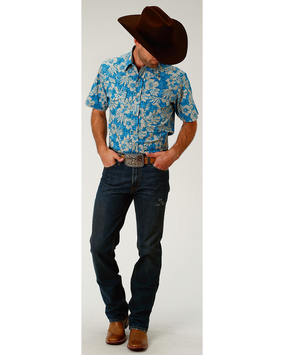 Roper Men's Tropical Plaid Short Sleeve Western Snap Shirt, Blue, hi-res