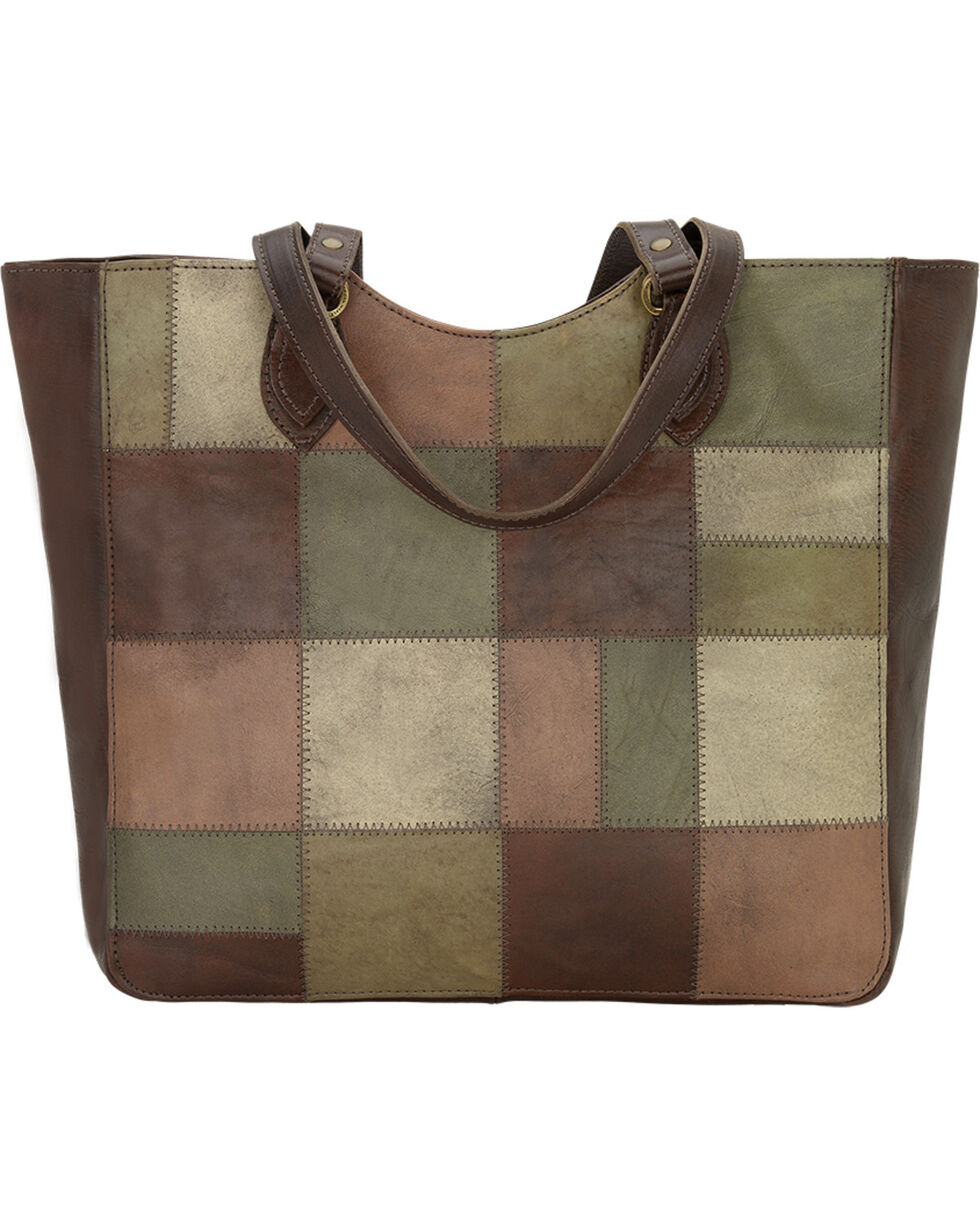 American West Chestnut Brown Groovy Soul Large Zip Top Tote Bag  , Green, hi-res