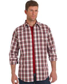 Wrangler Men's Red Plaid Wrinkle-Resistant Long Sleeve Western Shirt , Red, hi-res