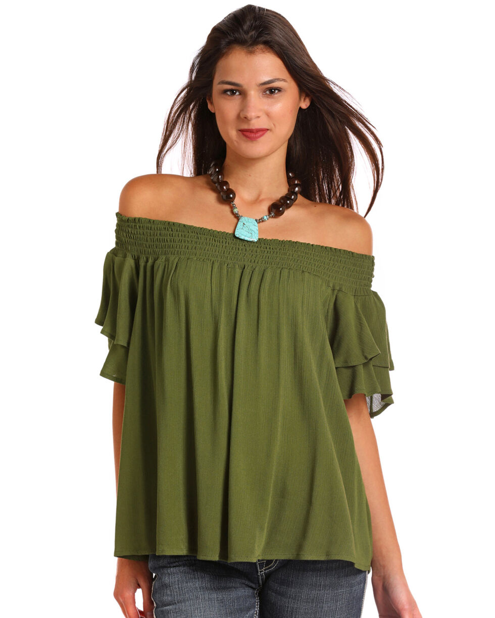 Red Label by Panhandle Women's Olive Off The Shoulder Ruffle Top, Olive, hi-res