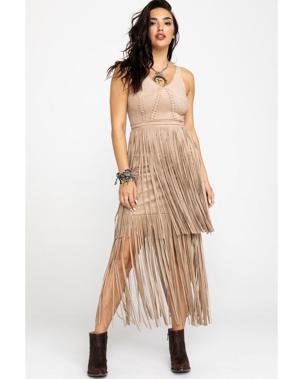 Idyllwind Women's Wild Nights Stone Fringe Dress , Stone, hi-res