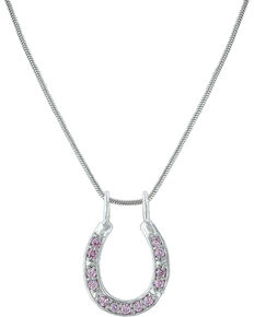Montana Silversmiths Women's Pink Crystal Horseshoe Necklace, Pink, hi-res