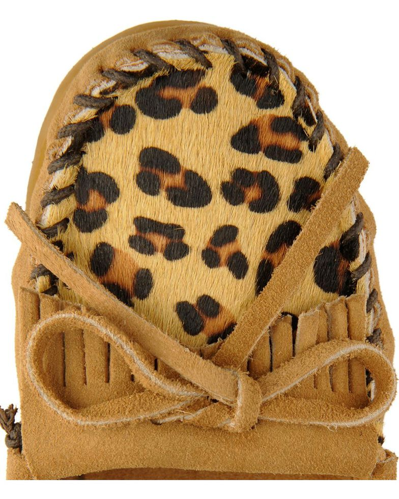 Women's Minnetonka Leopard Kilty Moccasins, Taupe, hi-res