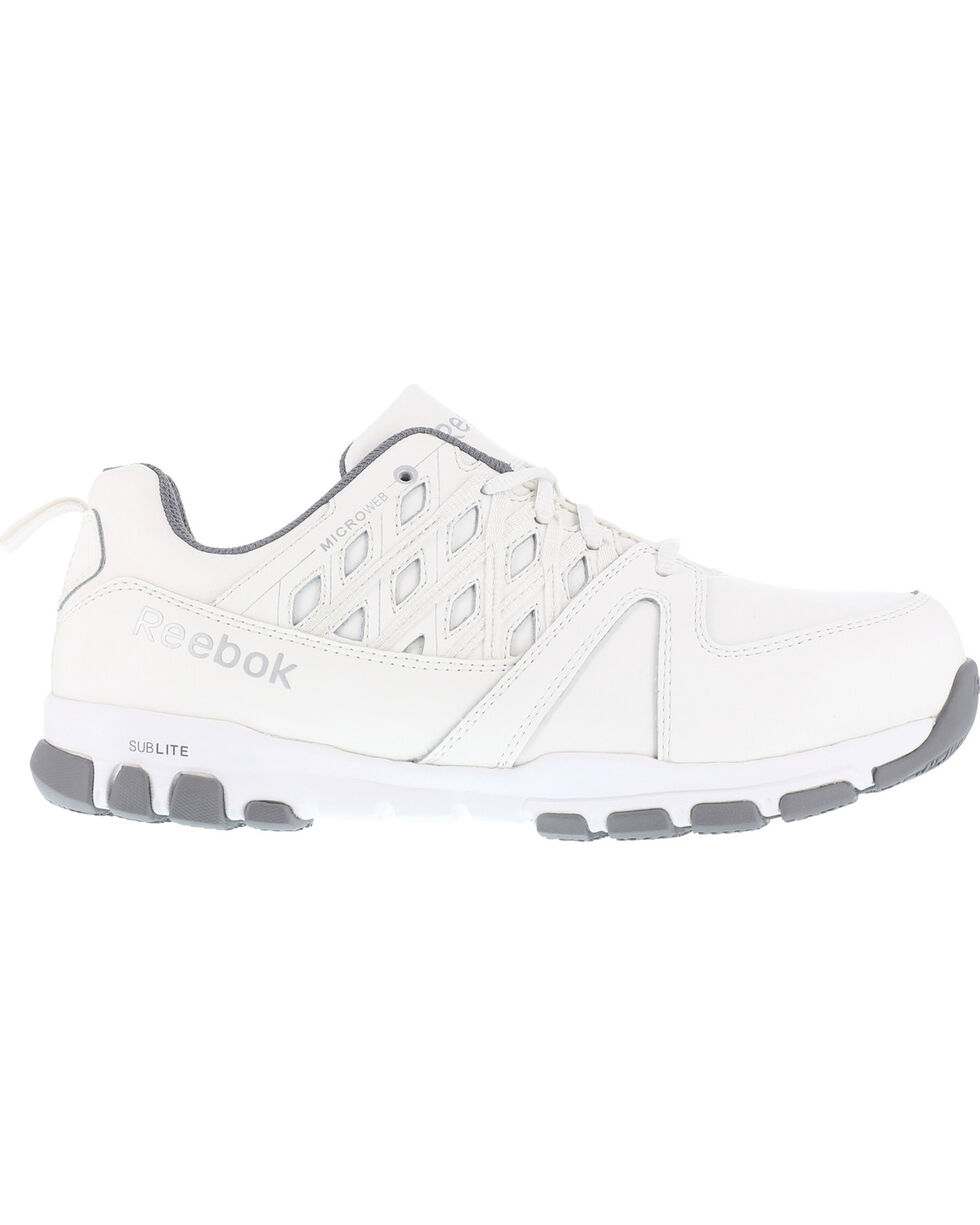 Reebok Men's Leather and MicroWeb Athletic Oxfords - Steel Toe, White, hi-res