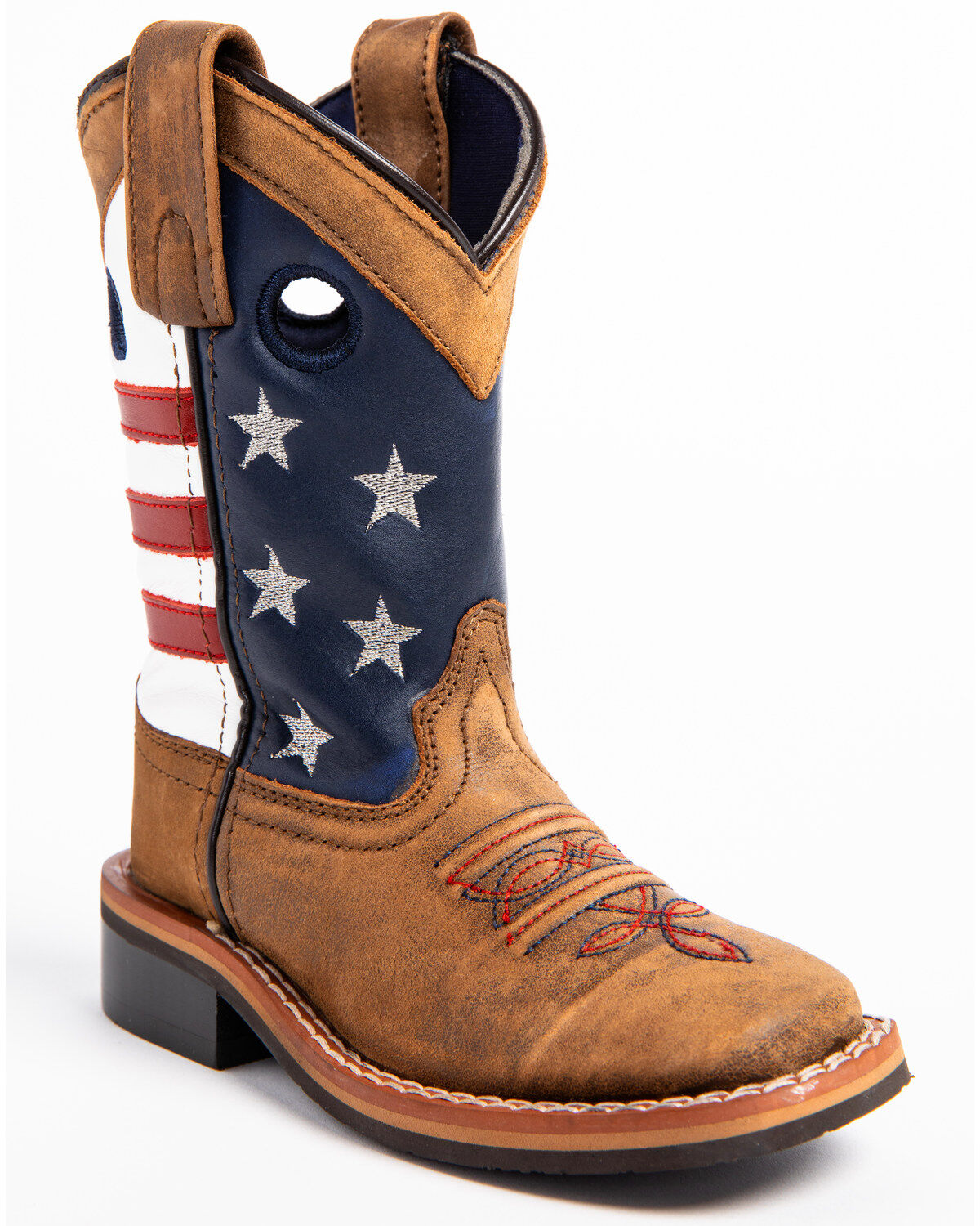 Cody James Boys\u0027 USA Flag Western Boots , Wide Square Toe
