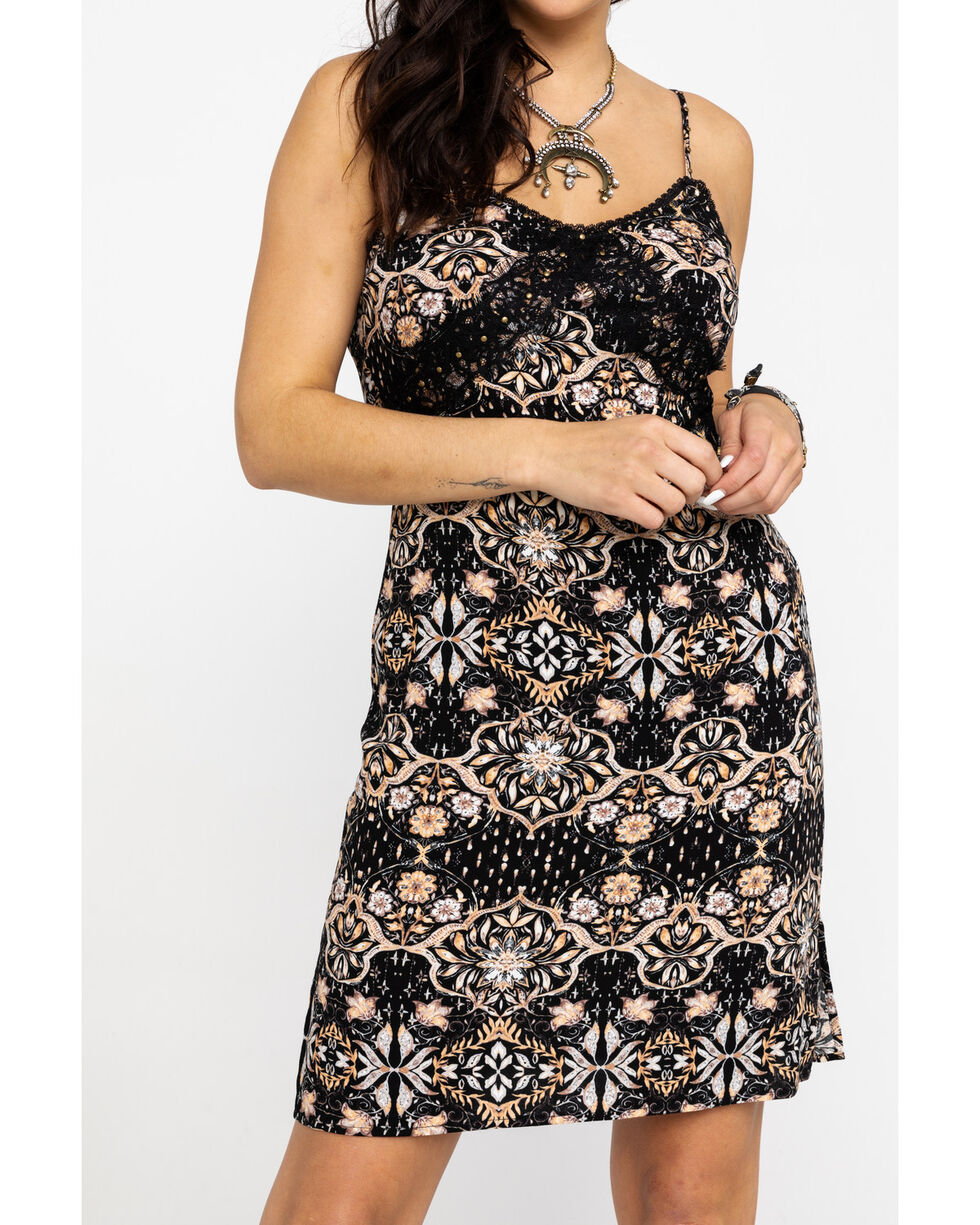 Idyllwind Women's Sun-Tea Slip Dress , Black, hi-res
