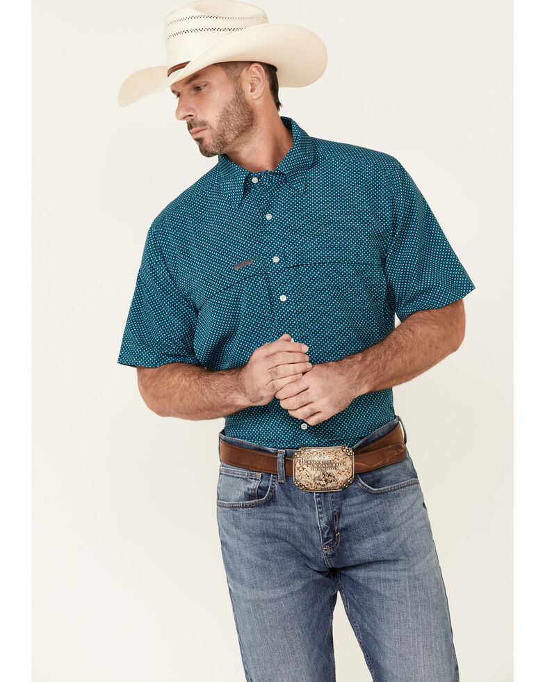 Panhandle Men's Turquoise Performance Geo Print Short Sleeve Button-Down Western Shirt , Turquoise, hi-res