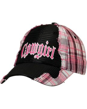 "Pink Plaid & Black Mesh ""Cowgirl"" Hat, Black, hi-res"