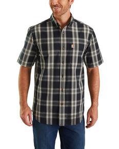 Carhartt Men's Black Essential Plaid Short Sleeve Work Shirt - Big , Black, hi-res