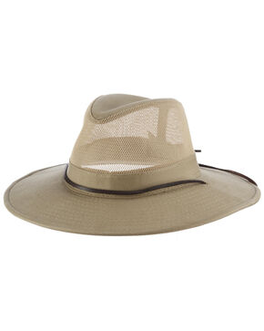 Dorfman Men's Mesh Safari Hat, Beige/khaki, hi-res