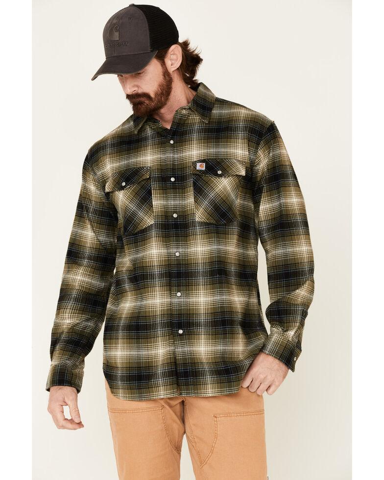 Carhartt Men's Rugged Flex Plaid Relaxed Long Sleeve Western Flannel Shirt , Green, hi-res
