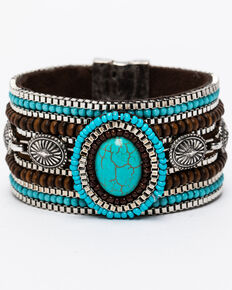 Shyanne Women's Mini Concho Link Beaded Magnetic Bracelet, Silver, hi-res