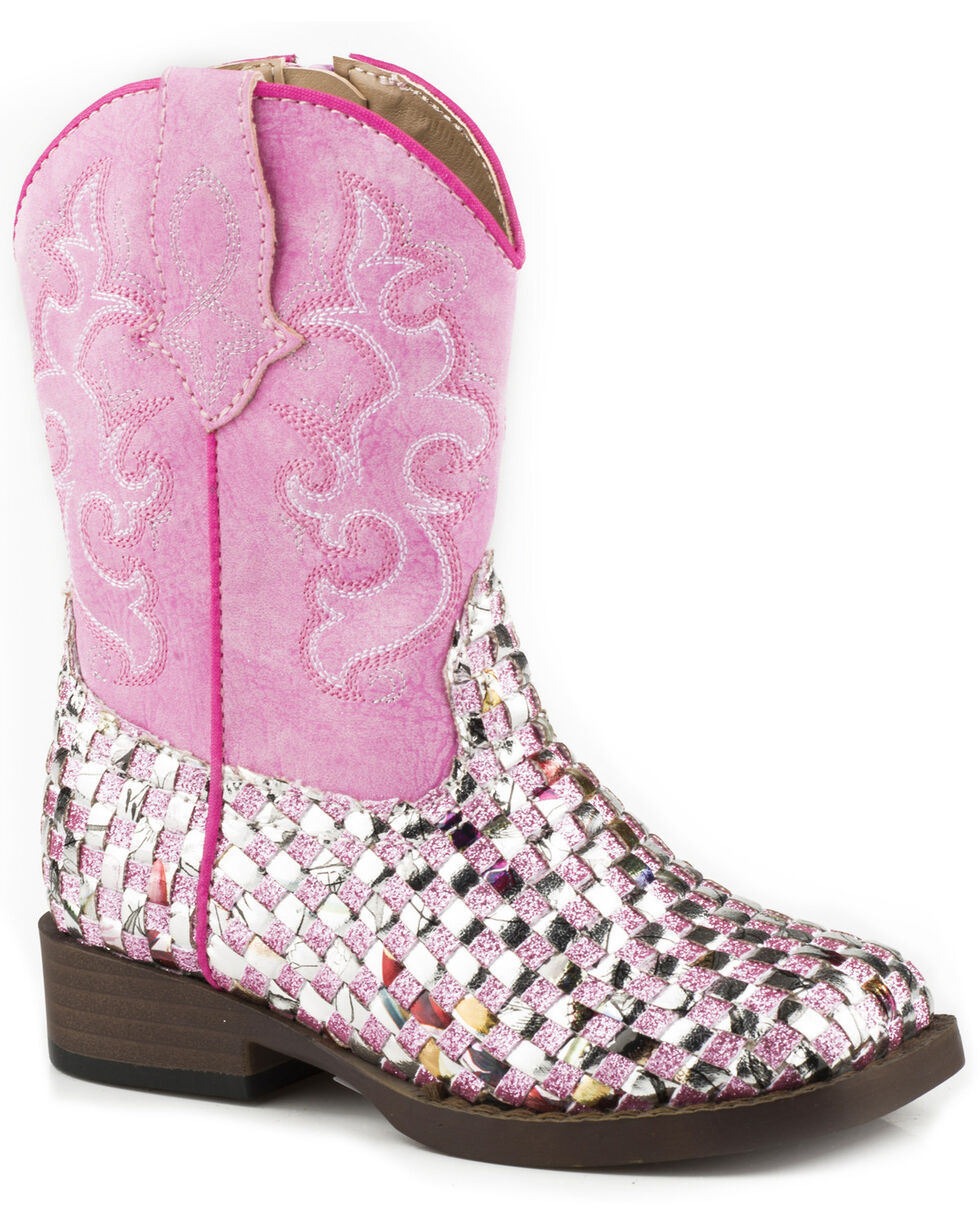 Roper Toddler Girl's Glitter Western Braid Cowgirl Boots - Square Toe, Pink, hi-res