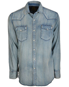 STS Ranchwear Men's Mcrea Denim Washed Long Sleeve Western Shirt , Blue, hi-res