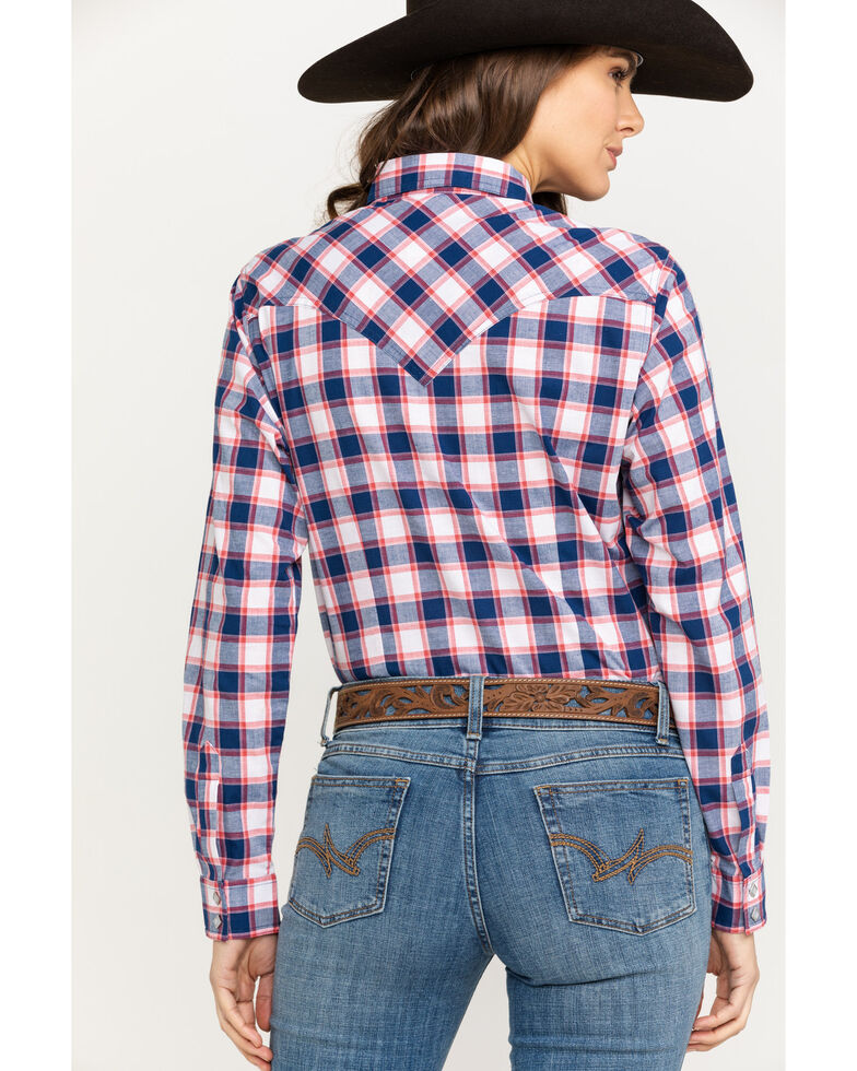 5bd0c134 Zoomed Image Wrangler Women's Blue & Red Plaid Woven Core Long Sleeve Shirt  , Blue/red,