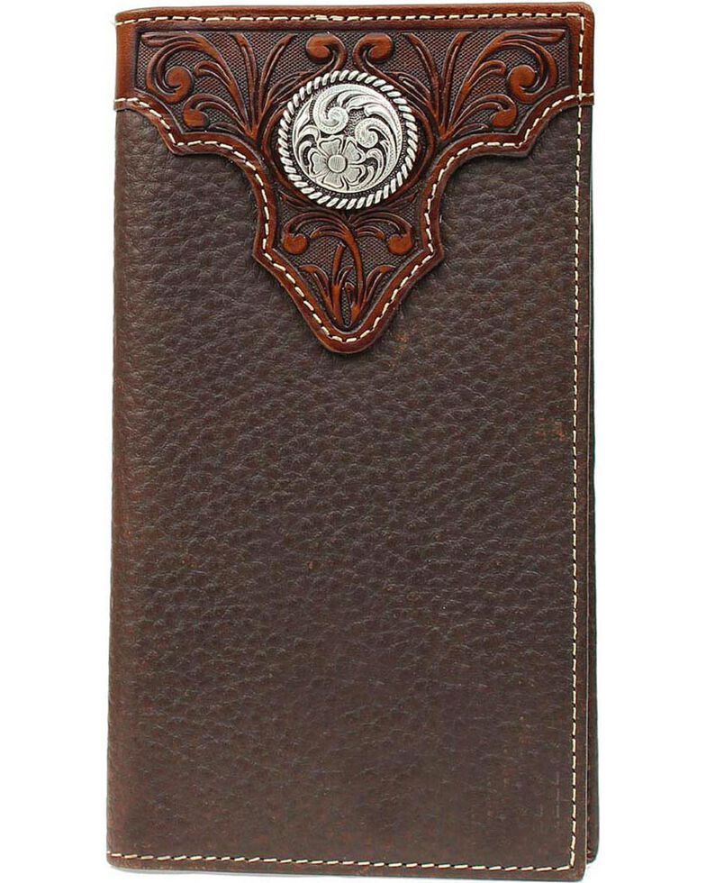 Ariat Men's Overlay Rodeo Check Book Wallet, Brown, hi-res