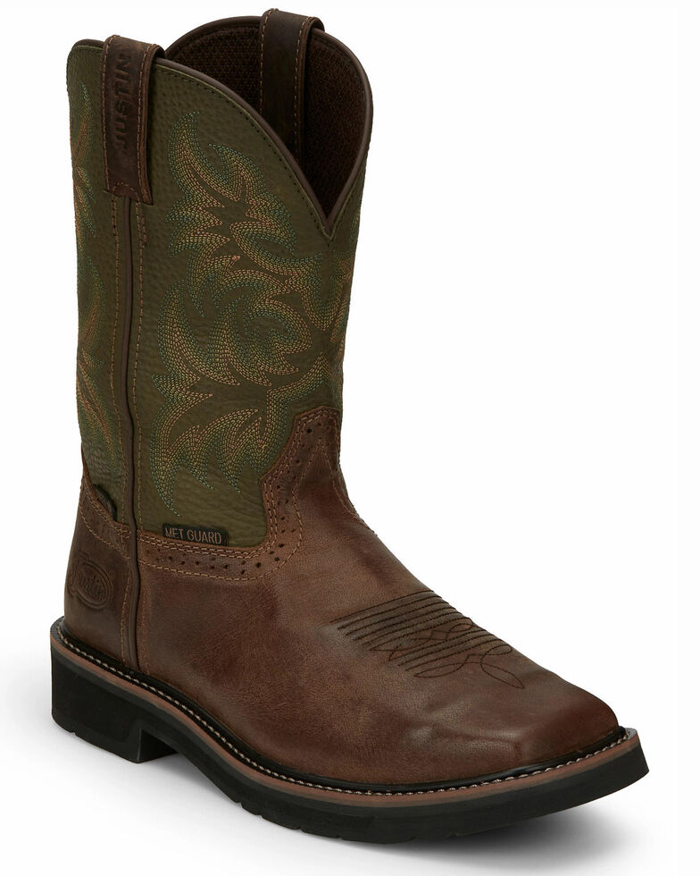 Justin Men's Keavan Waterproof Western Work Boots - Steel Toe, Brown, hi-res