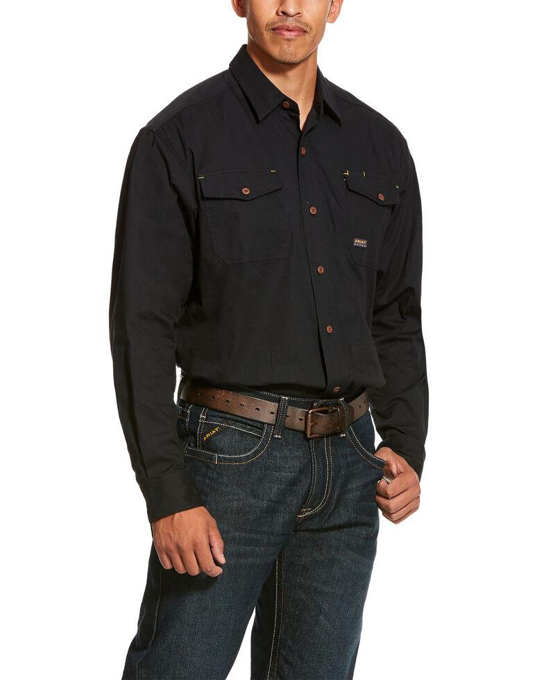 Ariat Men's Rebar Made Tough Durastretch Long Sleeve Work Shirt - Big & Tall , Black, hi-res