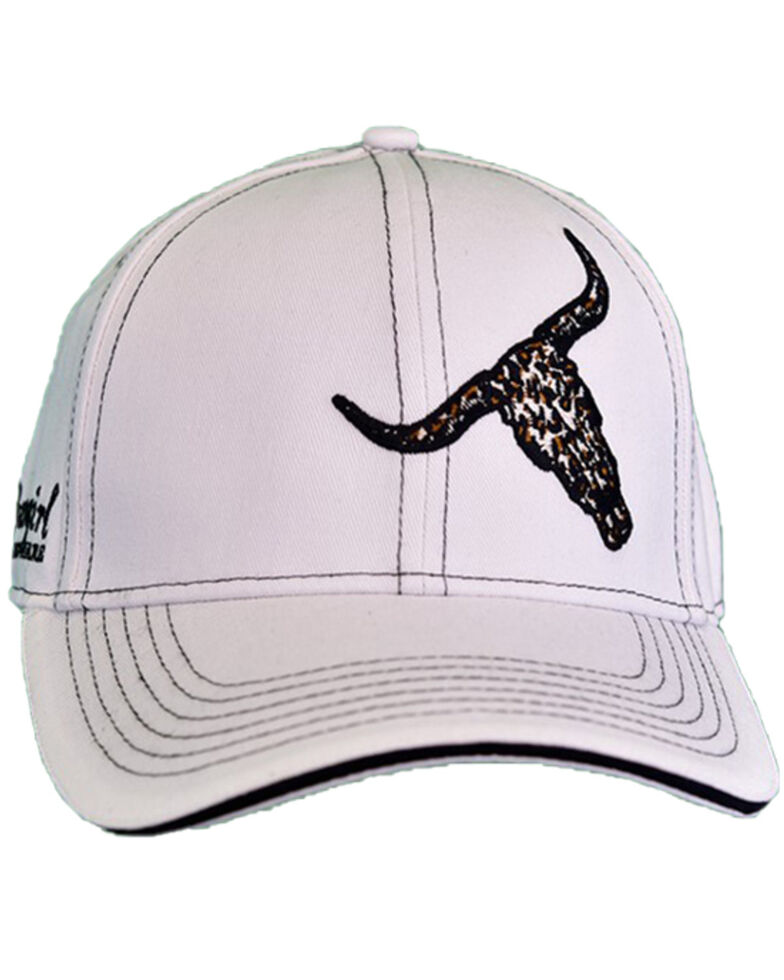 Cowgirl Hardware Women's Off-White Leopard Skull Embroidered Ball Cap  , White, hi-res