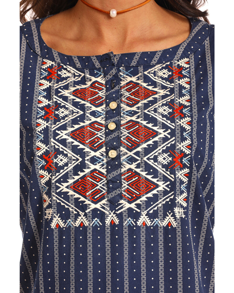 Panhandle White Label Aztec Embroidered Long Sleeve Top, Multi, hi-res