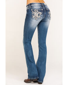 Miss Me Women's Whimsical Leaves Fleur De Lis Chloe Bootcut Jeans, Blue, hi-res