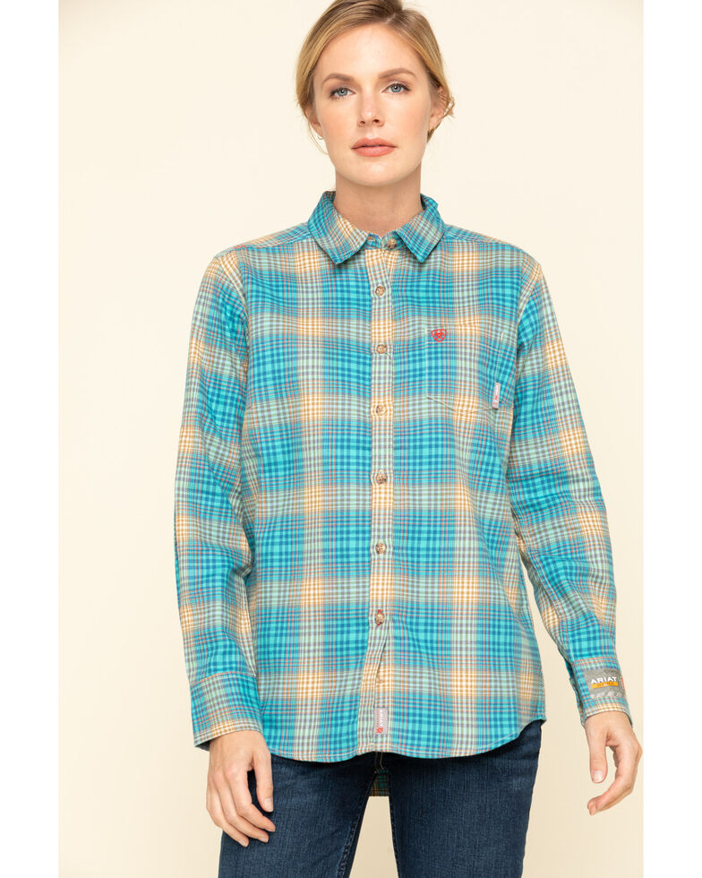 Ariat Women's Savana Plaid FR Long Sleeve Work Shirt, Blue, hi-res