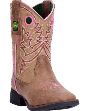 John Deere Girls' Pink Piping Pull-On Boots - Square Toe , Tan, hi-res