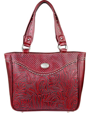 Montana West Trinity Ranch Trinity Ranch Tooled Design Concealed Handgun Collection, Red, hi-res