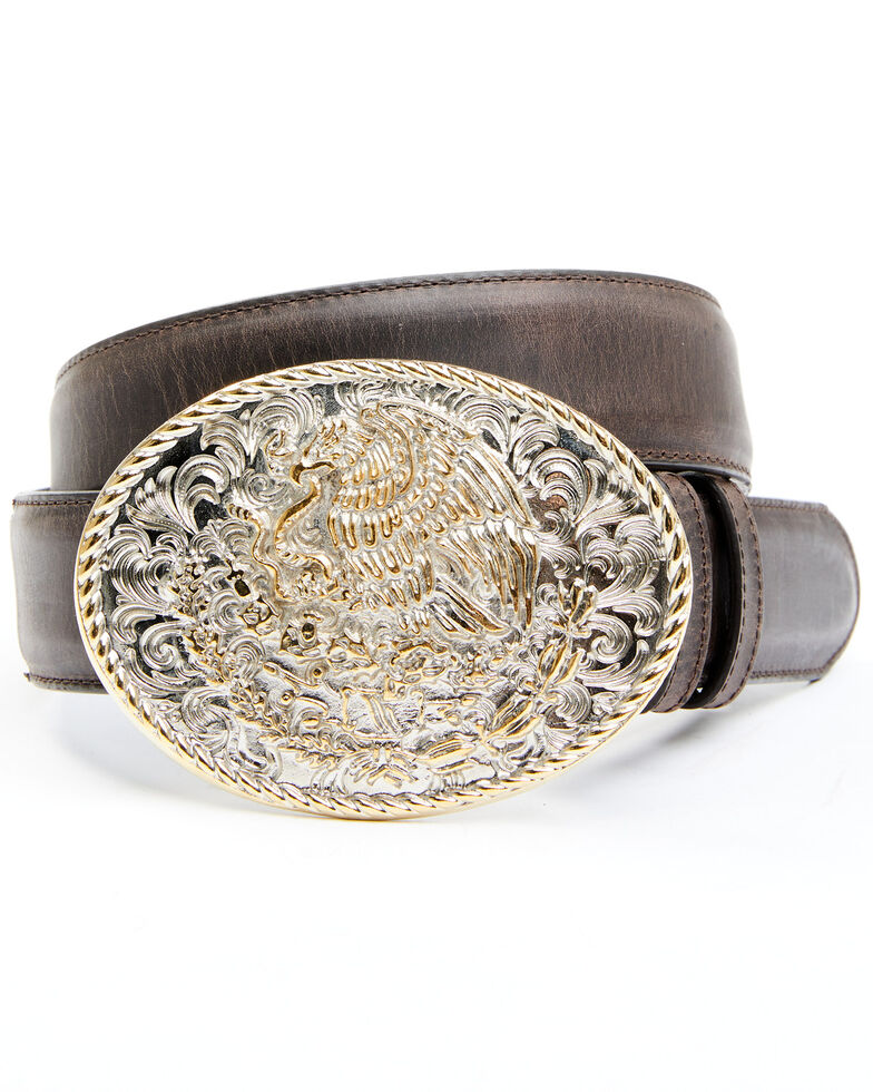 Cody James Men's Two-Tone Mexican Eagle Buckle Belt, Brown, hi-res