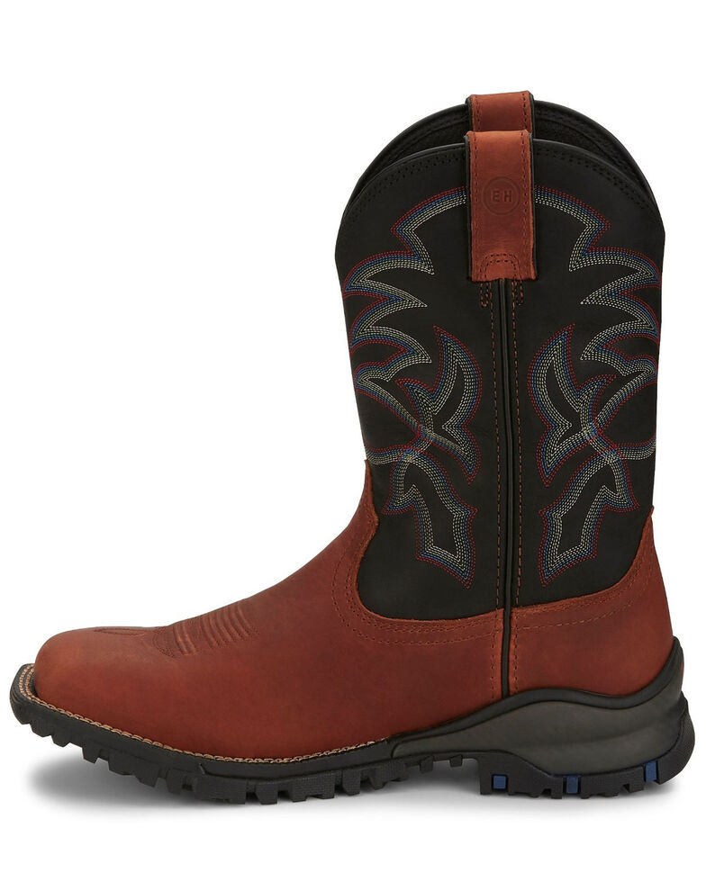 Tony Lama Men's Roustabout Brick Western Boots - Wide Square Toe, Cognac, hi-res
