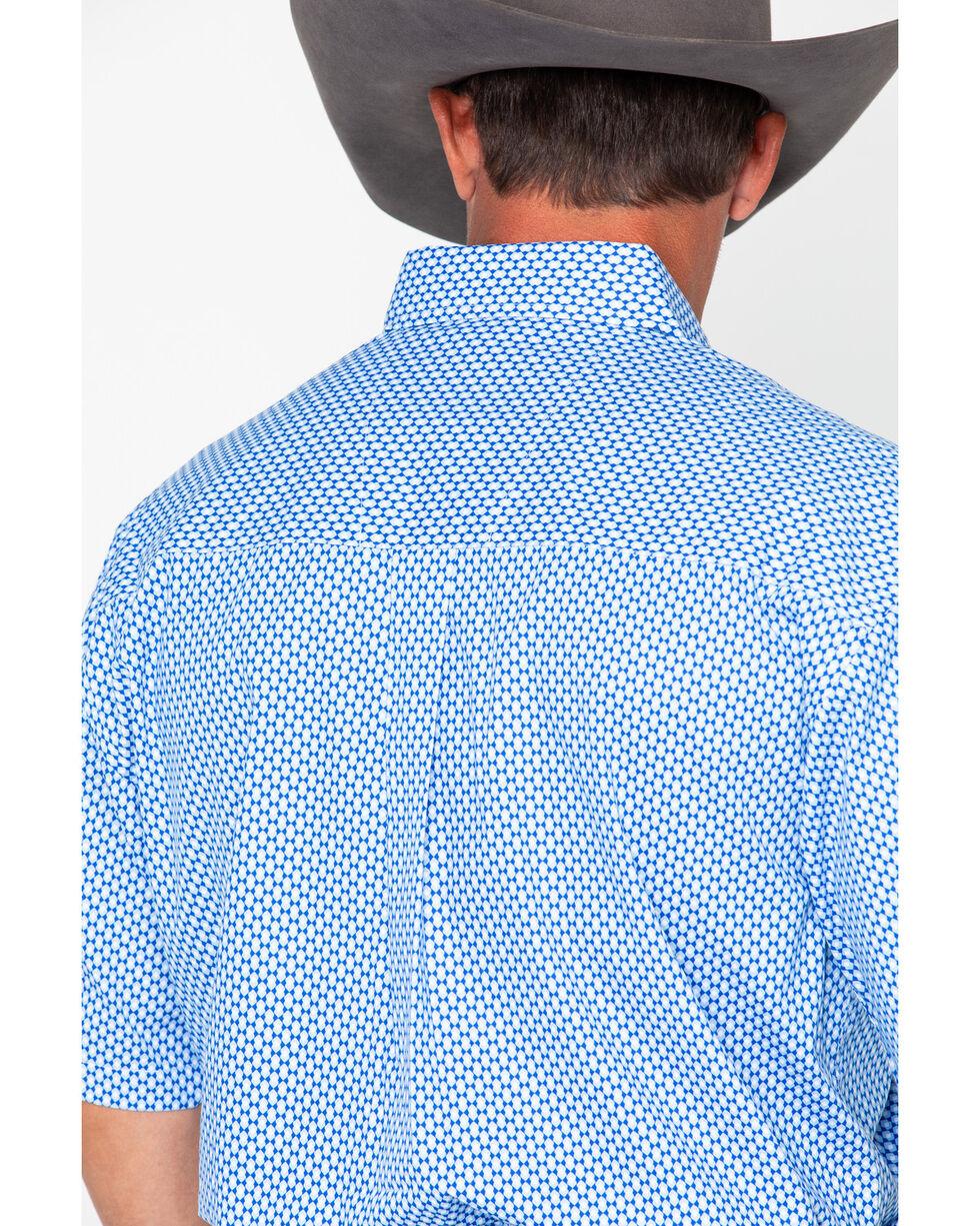 George Strait by Wrangler Men's Geometric Print Short Sleeve Western Shirt, Blue, hi-res