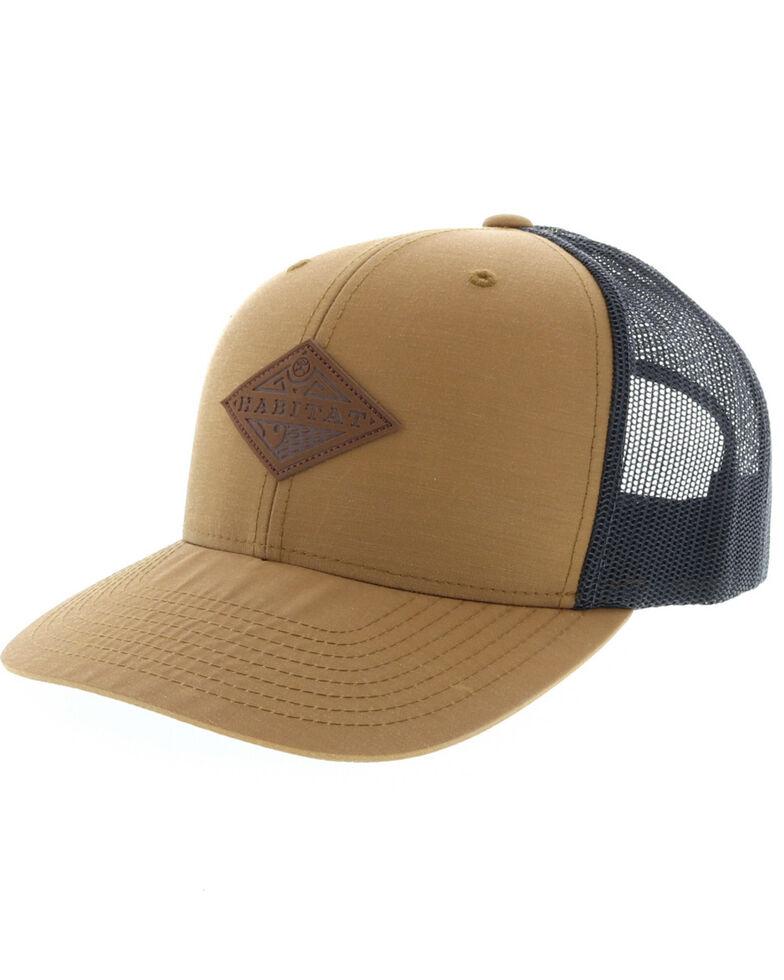 HOOey Men's Tan Graphite Habitat Leather Patch Ball Cap , Tan, hi-res