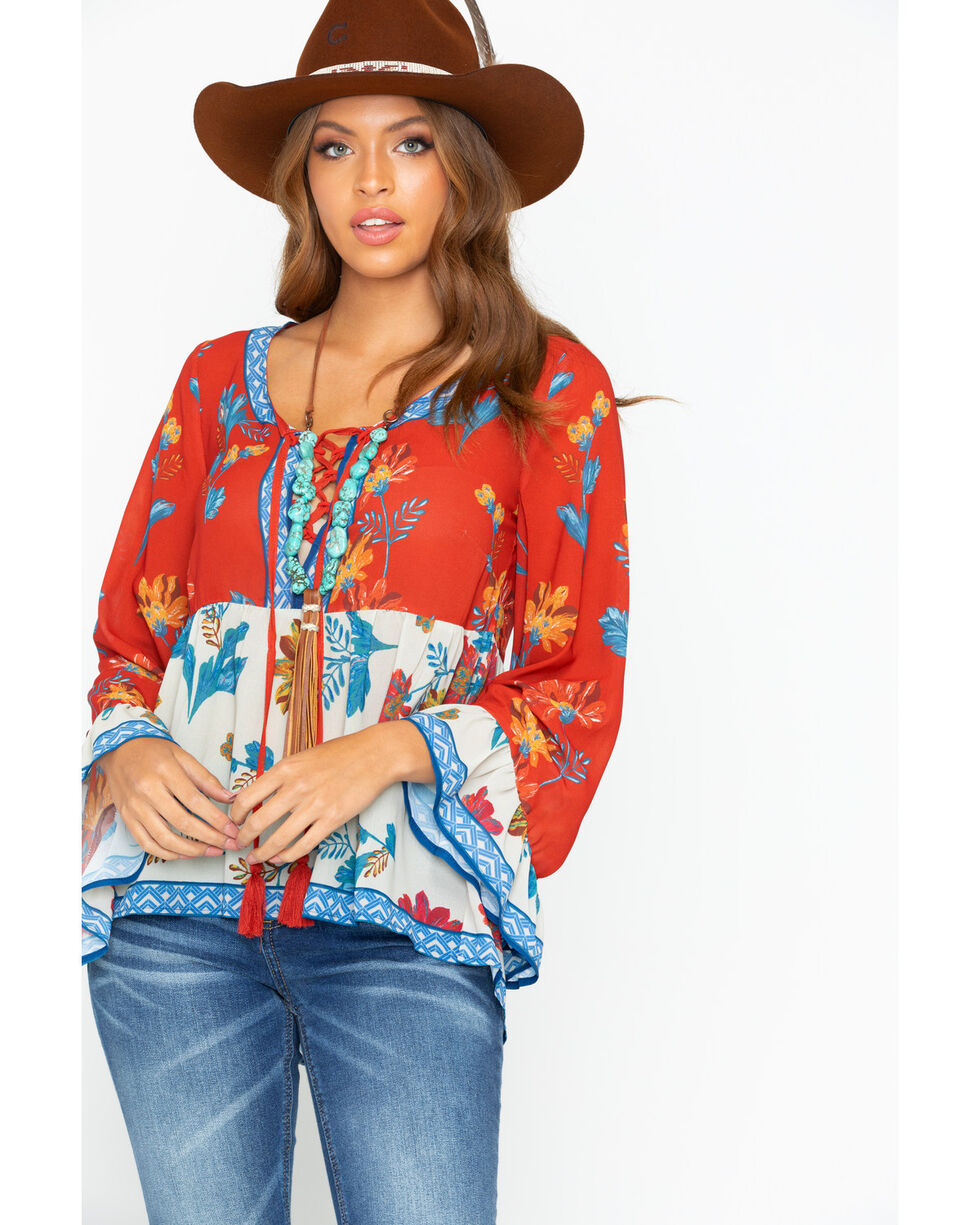 Flying Tomato Women's Floral Print Tassel Top, Rust Copper, hi-res