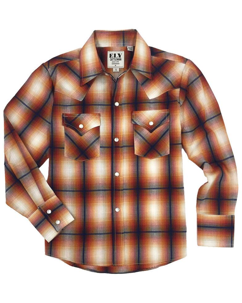 Ely Cattleman Boys' Rust Plaid Long Sleeve Western Shirt , Rust Copper, hi-res