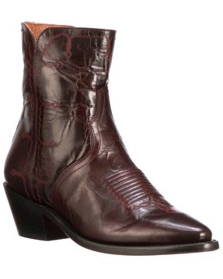 Lucchese Women's Avie Stud Fashion Booties - Round Toe, Black Cherry, hi-res