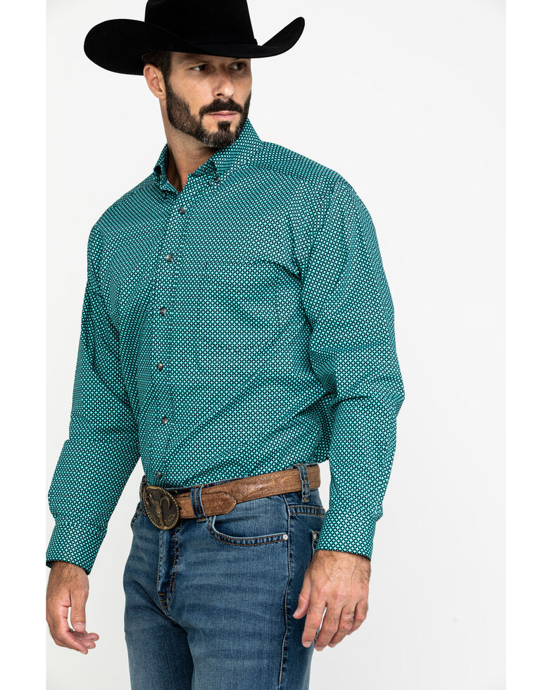 Tuf Cooper Men's Jade Stretch Geo Print Long Sleeve Western Shirt , Jade, hi-res