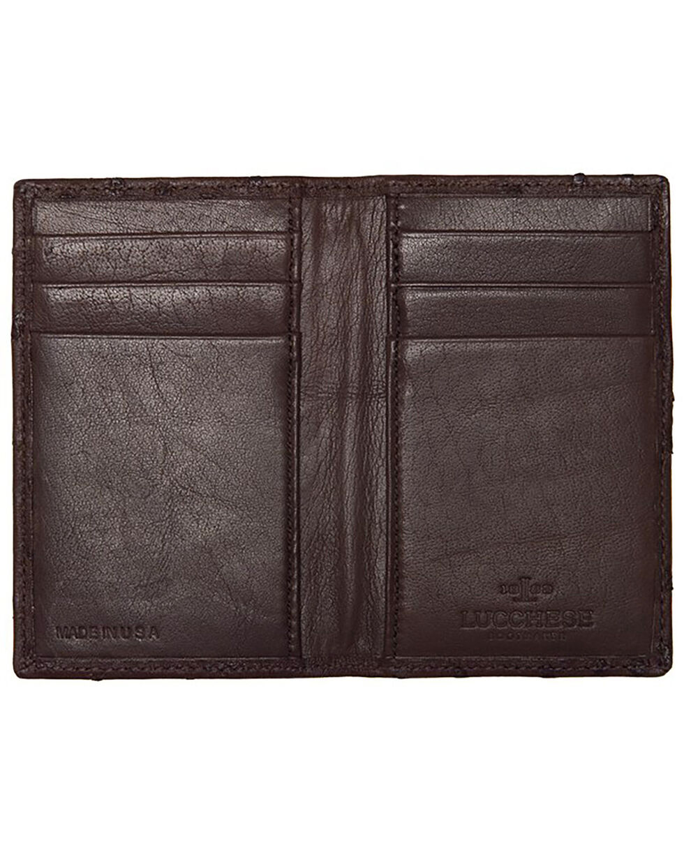 Lucchese Men's Sienna Ostrich BiFold Wallet , Brown, hi-res