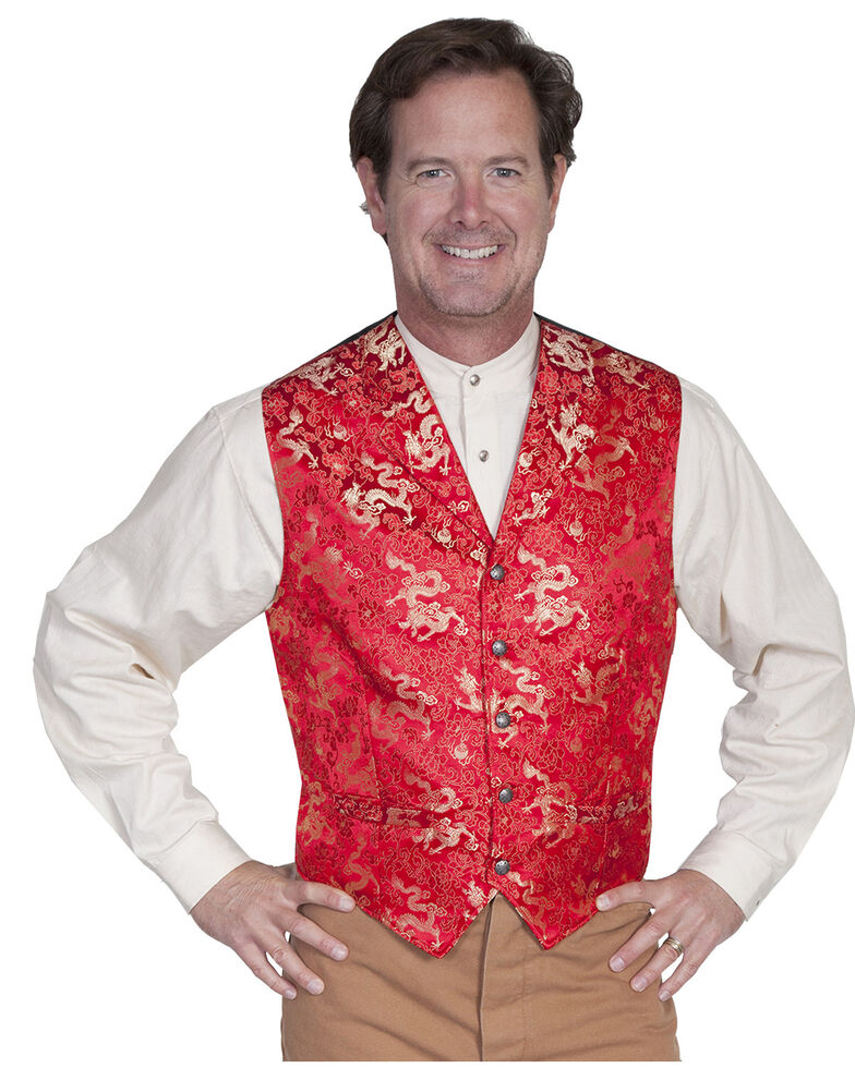 WahMaker Old West by Scully Classic Dragon Vest, Red, hi-res