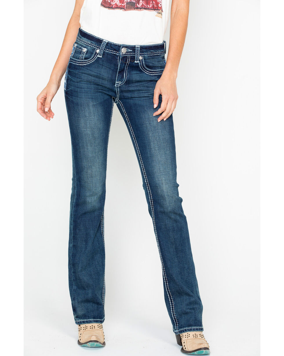 Grace In LA Women's Aztec Embroidered Easy Mid Boot Cut Jeans, Blue, hi-res
