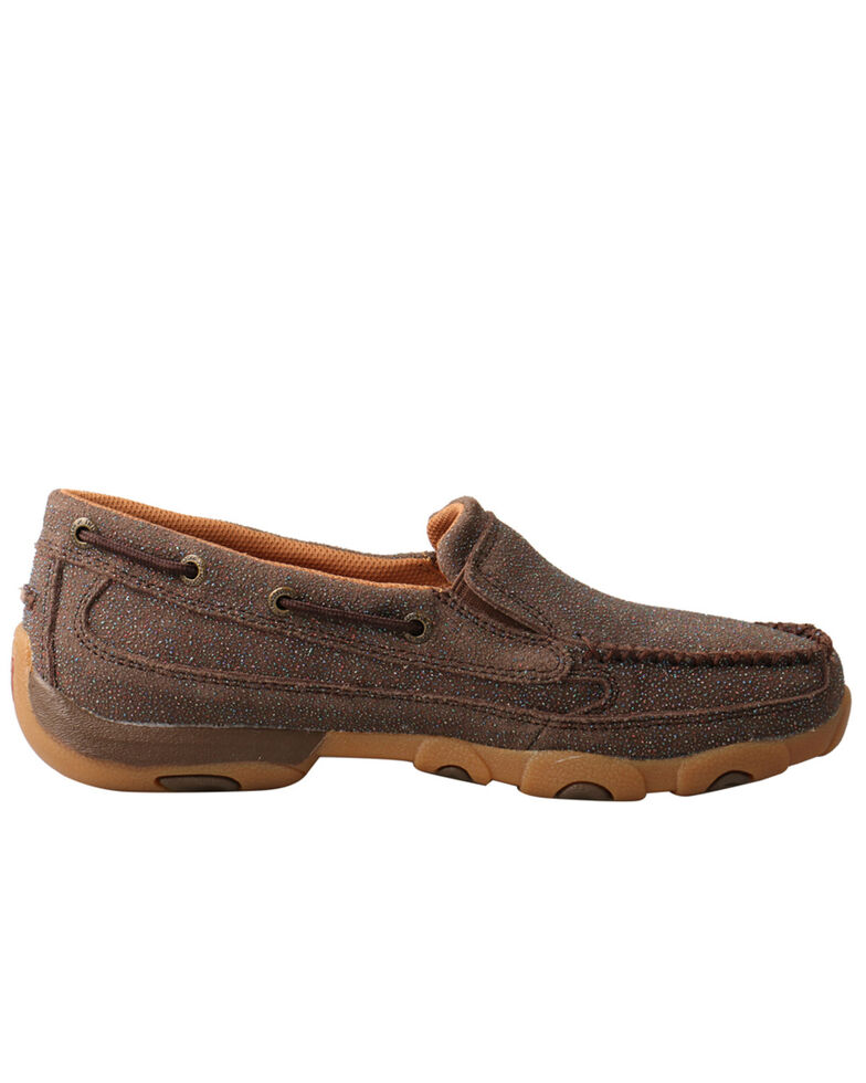 Twisted X Women's Driving Moc Boat Shoes - Moc Toe, Chocolate, hi-res