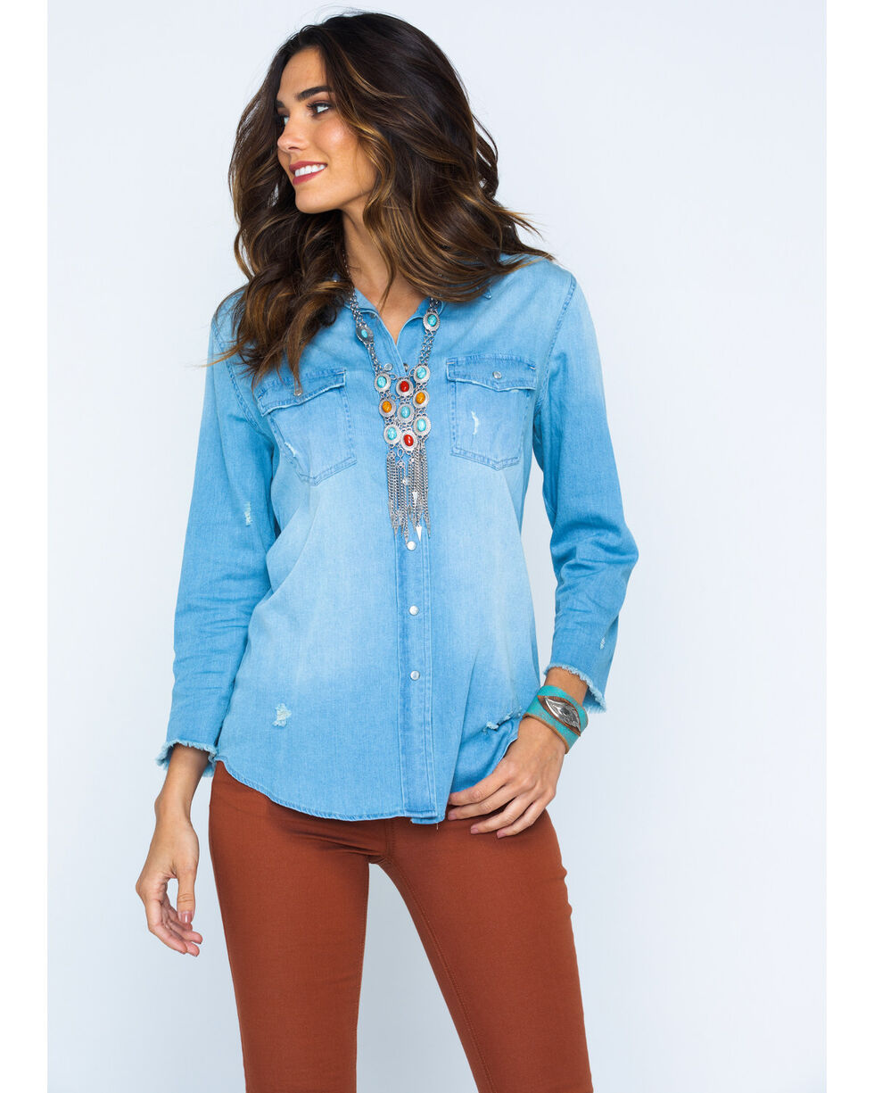 MI. OH. MI. Women's Embroidered Denim Shirt, Indigo, hi-res