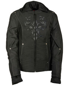 Milwaukee Leather Women's Reflective Tribal 3/4 Textile Jacket, Black, hi-res