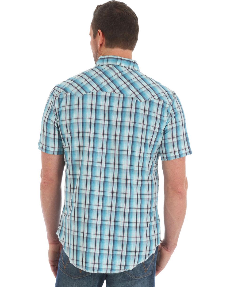 Wrangler Men's Turquoise Fashion Plaid Western Shirt , Turquoise, hi-res