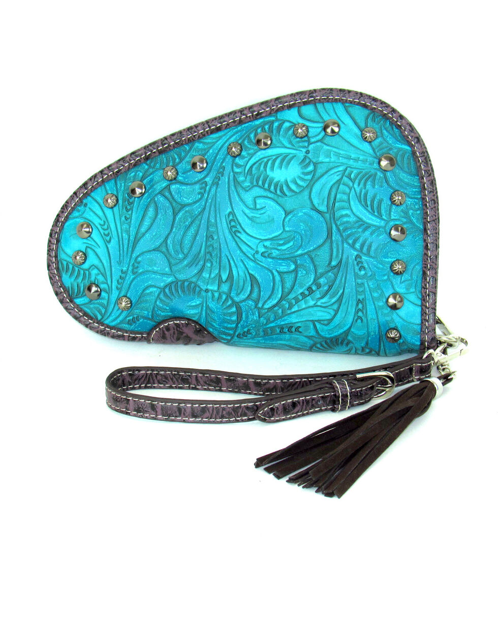 Savana Women's Tooled and Studded Handgun Case , , hi-res