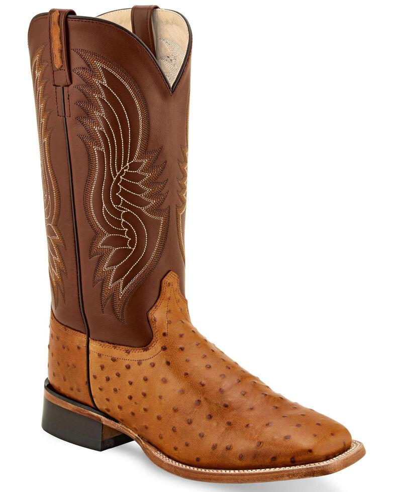 Old West Men's Faux Leather Print Western Boots - Wide Square Toe, Cognac, hi-res